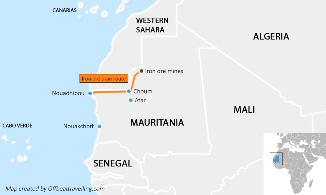 Mauritania map train route